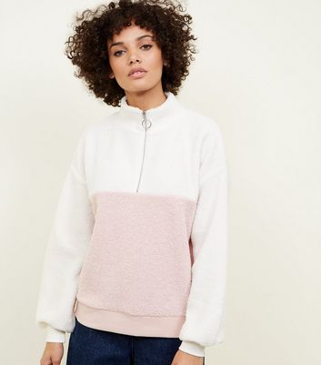 Pink Colour Block Borg Half Zip Sweatshirt