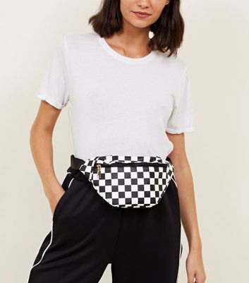 Black Leather-Look Checkerboard Bum Bag