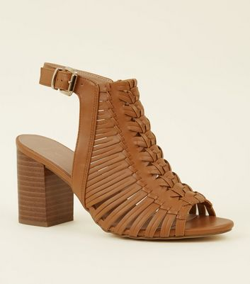 Wide Fit Tan Leather-Look Woven Block Heels