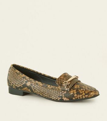 Wide Fit Brown Faux Snake Square Toe Loafers