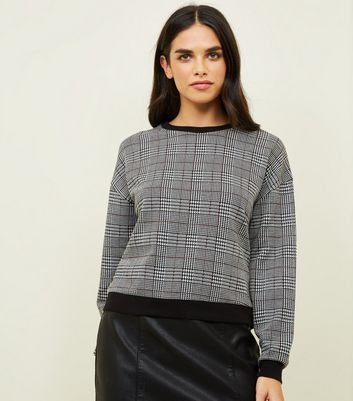 Black Hertiage Check Fine Knit Top