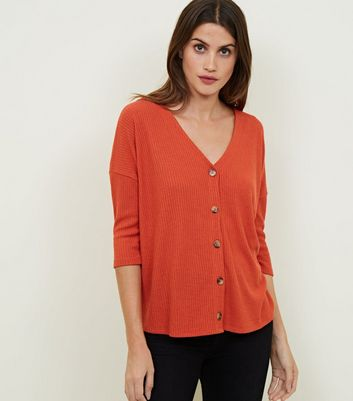 Orange Ribbed Fine Knit Button Front Top
