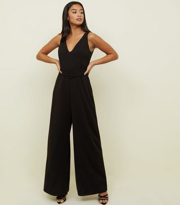 Petite Black Belted Wide Leg Jumpsuit