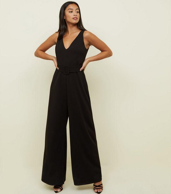5e0f4aeaef58 Petite Black Belted Wide Leg Jumpsuit