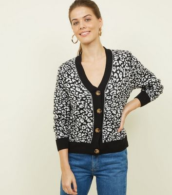 Black Leopard Knit Cardigan