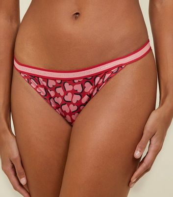 Red Heart Glitter Elastic Tanga Briefs