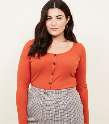 Curves Orange Ribbed Button Front Top