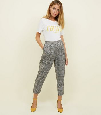 Petite Black Check Jersey Tapered Trousers