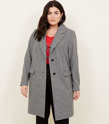 Curves Black Houndstooth Coat