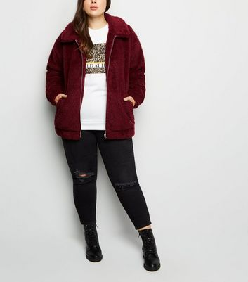 Curves Burgundy Teddy Borg Bomber Jacket