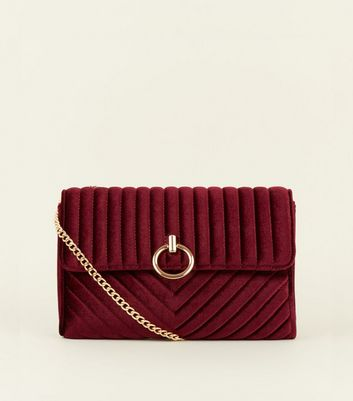 Burgundy Velvet Chain Shoulder Bag
