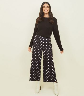 Tall Black Spot Print Cropped Trousers