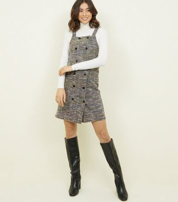 Black Bouclé Double Breasted Pinafore Dress