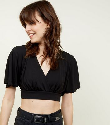 Black Cape Sleeve Cropped Top