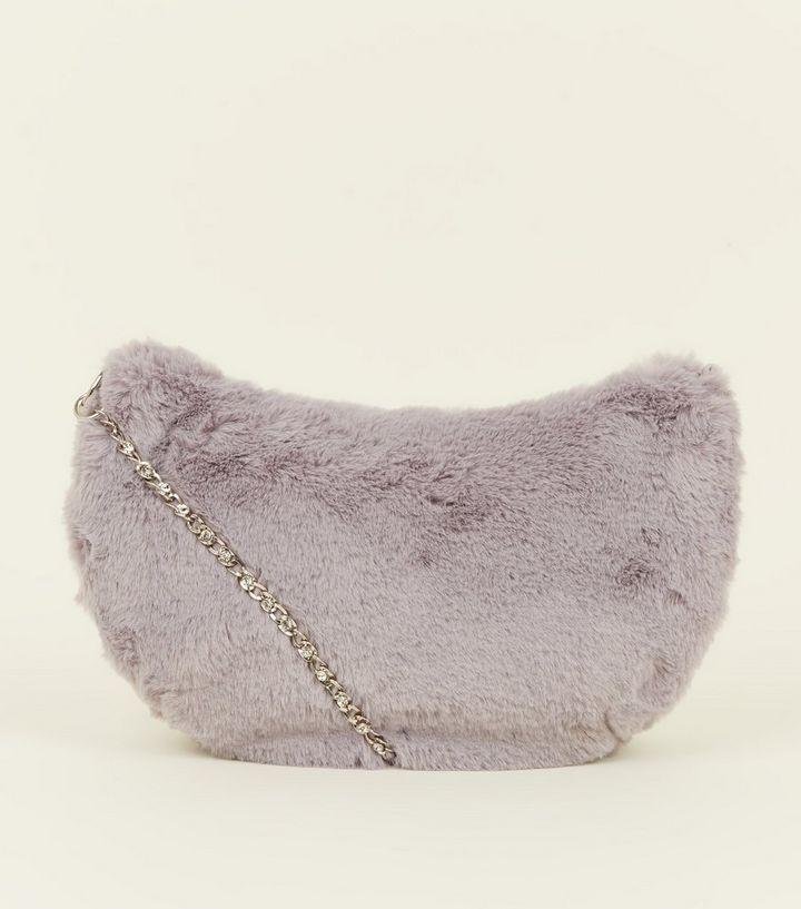 3112c4c6ad Grey Faux Fur Chain Diamanté Bag