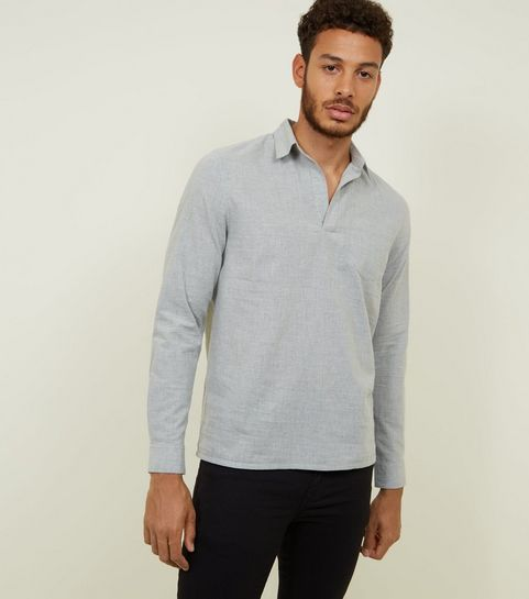 5af0e89abdb ... Pale Grey Woven Overhead Shirt ...