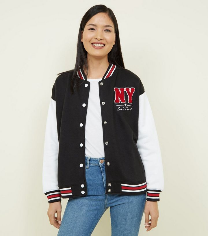6bb975242 Black Contrast Tipped NY Appliqué Bomber Jacket Add to Saved Items Remove  from Saved Items