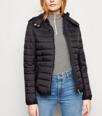 Black Hooded Lightweight Puffer Jacket