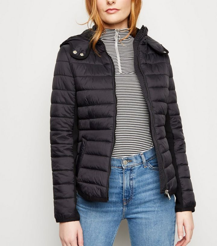 b455743b012cf Black Hooded Lightweight Puffer Jacket   New Look