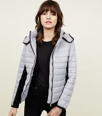 Dark Grey Hooded Lightweight Puffer Jacket