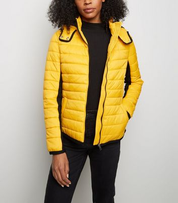 Mustard Hooded Lightweight Puffer Jacket