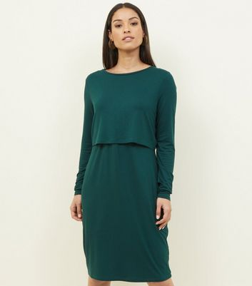 Maternity Dark Green Long Sleeve Layered Nursing Dress