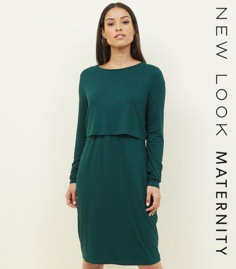 fc97b195aaba3 ... Maternity Dark Green Long Sleeve Layered Nursing Dress ...