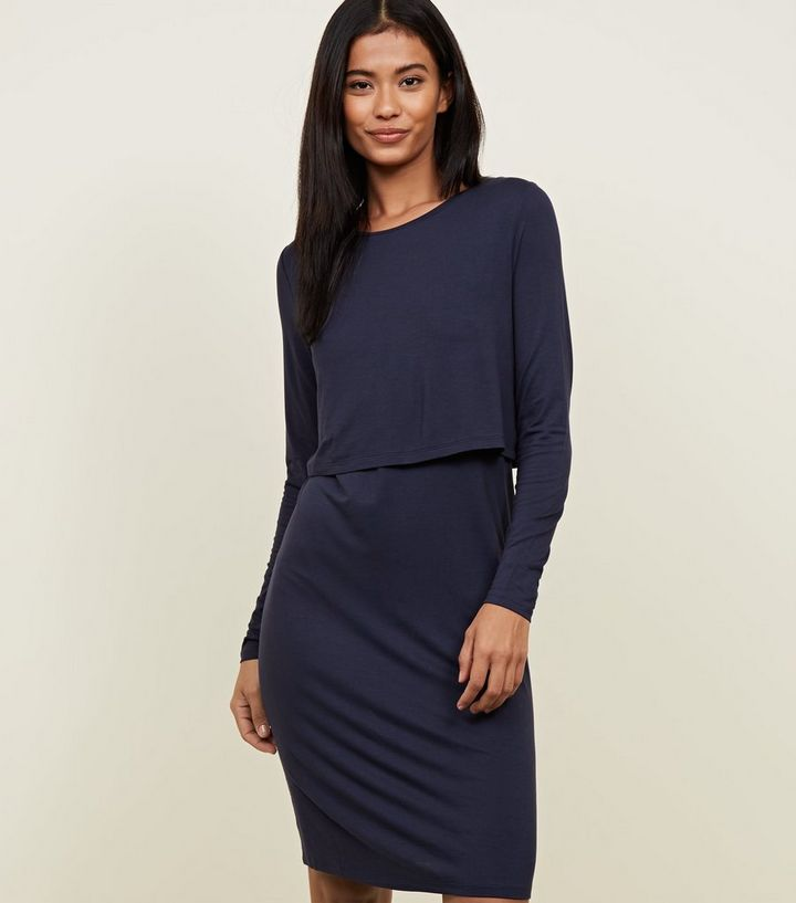 1aad3807c29 Maternity Navy Long Sleeve Layered Nursing Dress