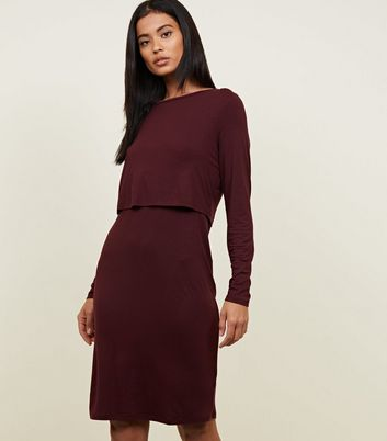 Maternity Burgundy Long Sleeve Layered Nursing Dress