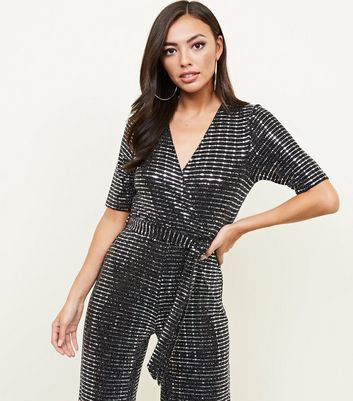 Silver Mirrored Sequin Wrap Jumpsuit New Look
