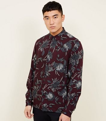Burgundy Floral Long Sleeve Shirt