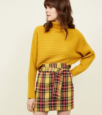 Yellow Bouclé Check Paperbag Mini Skirt