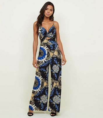 Black Baroque Print Twist Front Wide Leg Jumpsuit