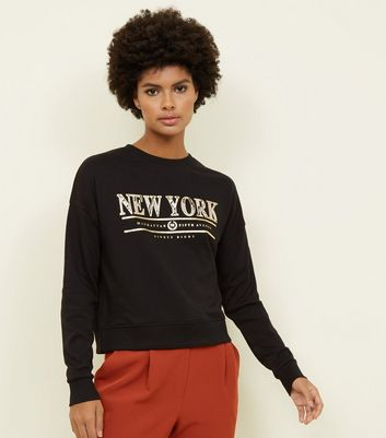 Black Snake Print New York Slogan Sweatshirt