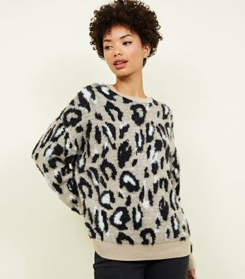 Brown Fluffy Leopard Print Jumper