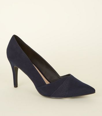 Navy Comfort Flex Suedette Pointed Courts