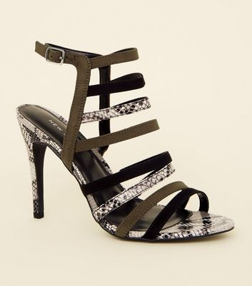Khaki Snake Print Suedette Strappy Shoes