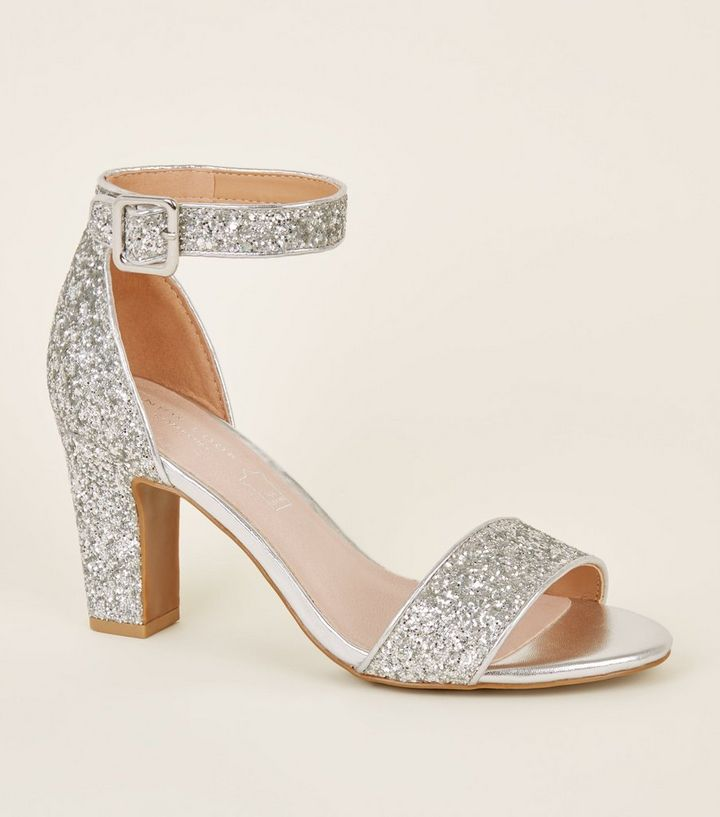 e262cbf3be3 Comfort Flex Silver Glitter Block Heels Add to Saved Items Remove from  Saved Items
