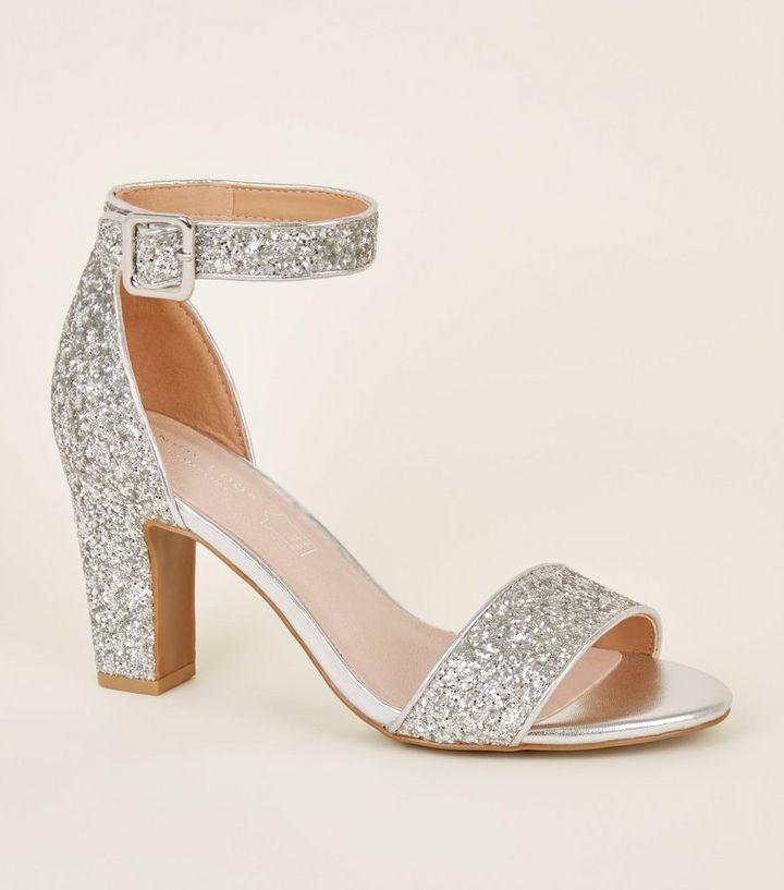 Comfort Flex Silver Glittery Block Heels  4a2a8cb59953