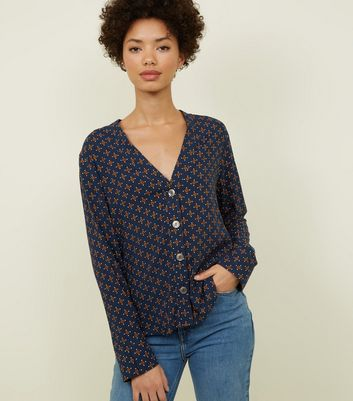 Navy Geometric Print V-Neck Shirt