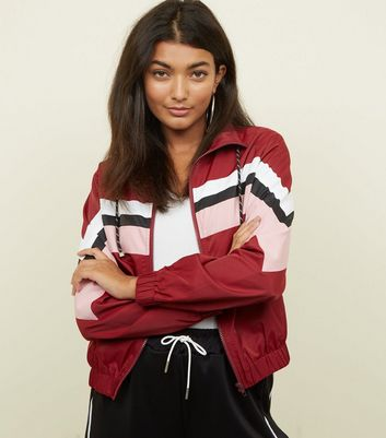 Burgundy Colour Block Windbreaker Jacket