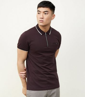 Dark Purple Tipped Collar 1/2 Zip Polo Shirt
