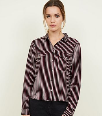 Black and Red Stripe Long Sleeve Utility Shirt