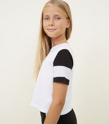 Girls White Mesh Stripe Sleeve T-Shirt