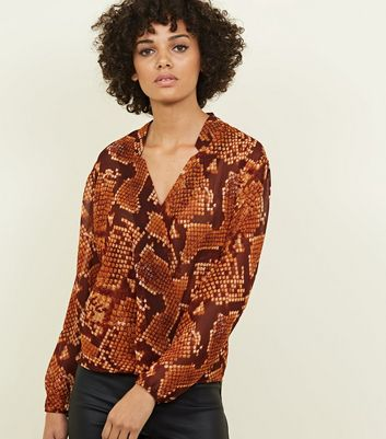 Brown Snakeskin Print Wrap Front Top