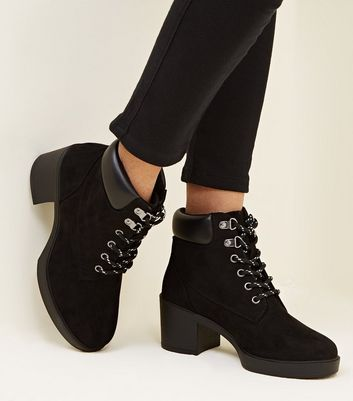 Girls Black Block Heel Hiker Boots