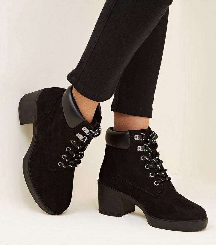 11d22f1d4dc1 Girls Black Block Heel Hiker Boots