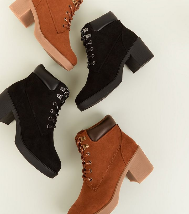 5c8a97b8240 Girls Black Block Heel Hiker Boots Add to Saved Items Remove from Saved  Items