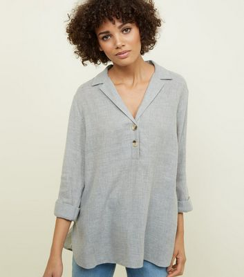 Grey Marl Overhead Button Front Melange Shirt