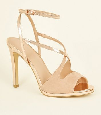 Rose Gold and Pink Cross Strap Peep Toe Stilettos